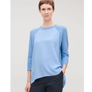 COS Silk-Front A-Line Ringer Style Knit Top